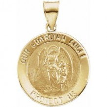 14K Yellow 18 mm Hollow Round Guardian Angel Medal
