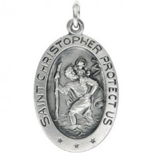 Sterling Silver 22x15 mm Oval St. Christopher Pendant