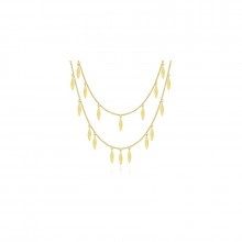 14K Yellow Gold Two Strand Necklace with Marquise Shape Drops