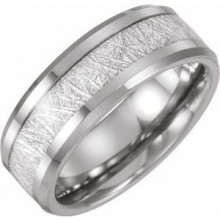 Tungsten Band with Imitation Meteorite Inlay Size 7